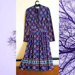 Vintage 70s purple floral shirt dress
